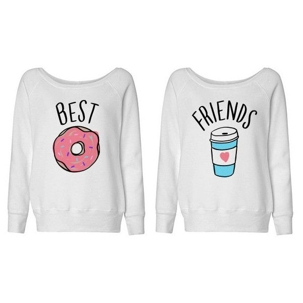 Best Friends Donut and Coffee Duo Wideneck Sweater Shirt for Best... ($28) ❤ liked on Polyvore featuring tops, shirts, sweaters, silver, sweatshirts, women's clothing, oversized shirt, shirts & tops, slouchy shirt and slouchy tops