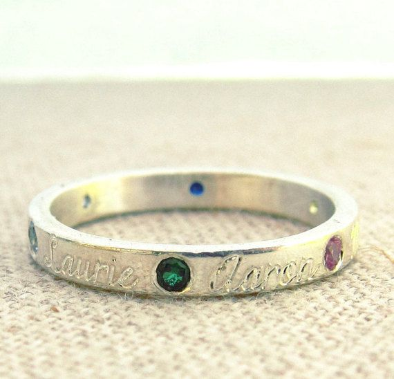 This is the one......Mothers Day Birthstone Ring  Name and Birthstone by emilyjdesign