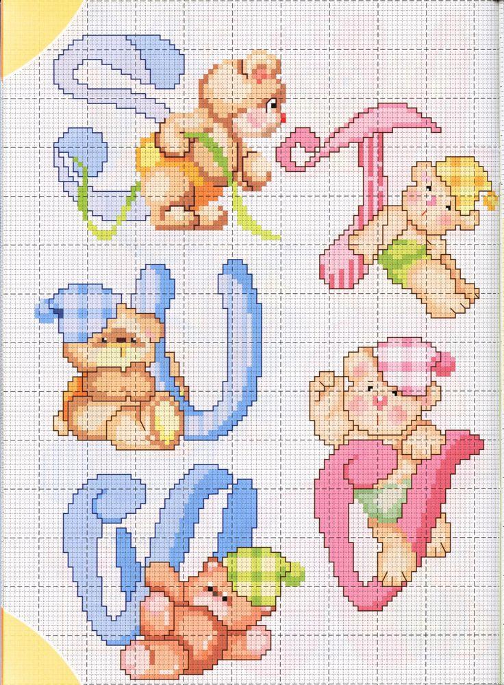 alfabeto teneri orsetti (3) - magiedifilo.it punto croce uncinetto schemi gratis hobby creativi