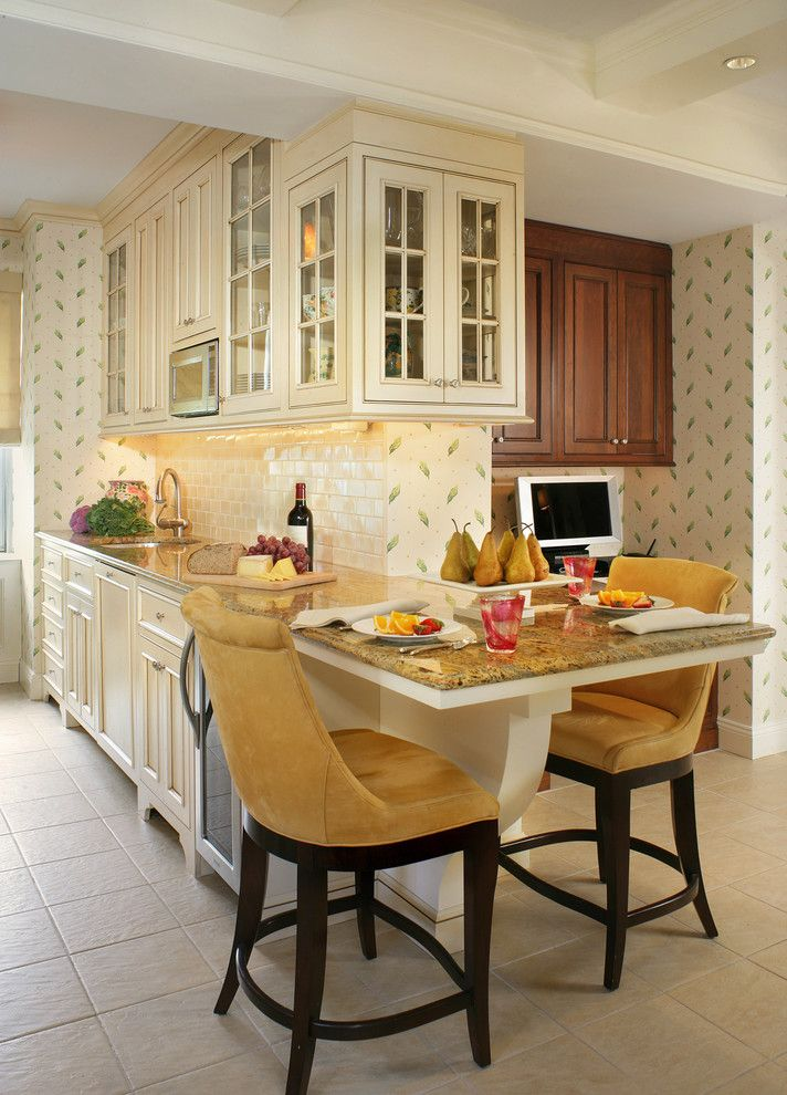 Artistic Small Kitchen Peninsula Ideas Image Gallery in Kitchen Traditional design ideas with Artistic barstools cabinets ceiling lights glass cabinet doors interior wallpaper Kitchen Appliances kitchen