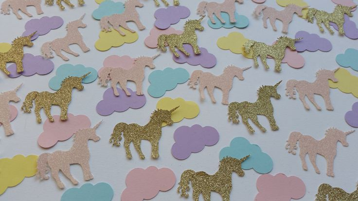 Glitter gold and pink unicorn and pastel rainbow cloud table confetti. Birthday party table decorations. Unicorn decor by Garlandsandgifts on Etsy