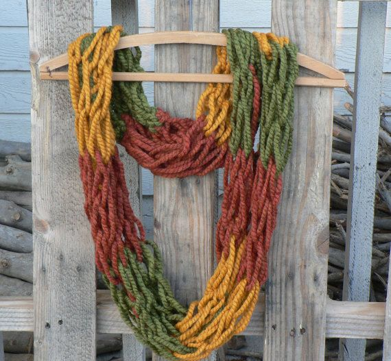Color Block Infinity Scarf in Fall Shades by WarmButterfly on Etsy