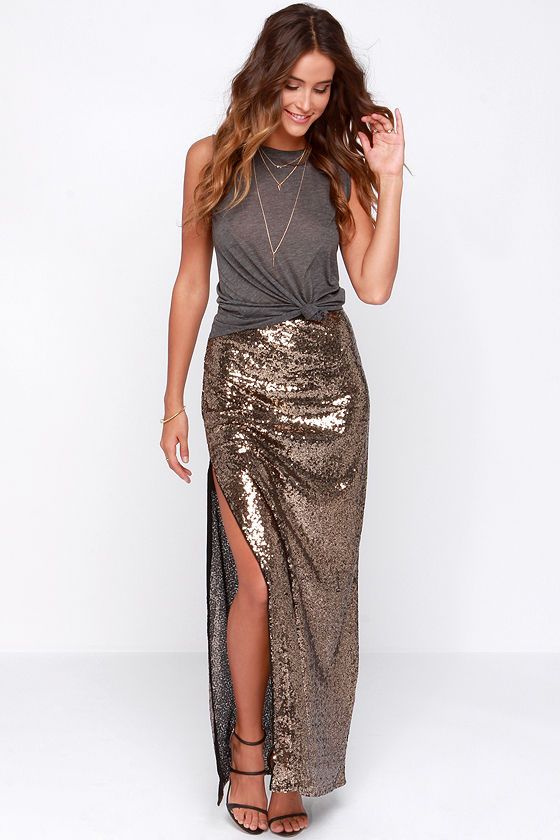 I just can't stop with these sequins... Closeup and Personal Gold Sequin Maxi Skirt at Lulus.com!