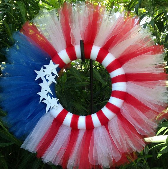 Fourth of July Tulle Wreath Red white and blue Flag by ReveDeTulle, $47.00