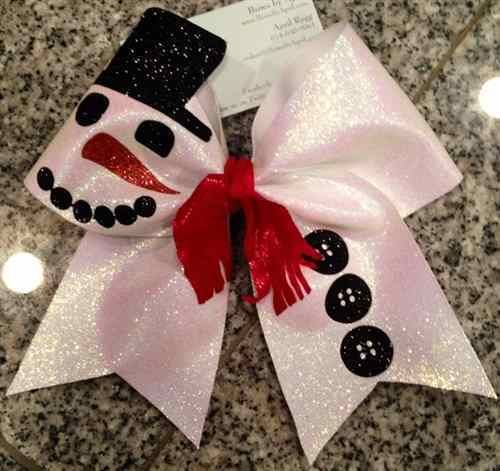 Bows by April - Frosty the Bowman White Glitter Snowman Cheer Bow, $15.00 (http://www.bowsbyapril.com/frosty-the-bowman-white-glitter-snowman-cheer-bow/)