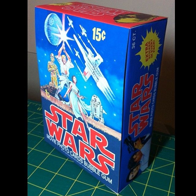 Star Wars movie card box I made. Never had the original, so I made my own. Made it from scratch and  it took a while to create all the art. A bit different to the original #starwars #moviecards #tradingcards #swapcards #cards #cardart #topps #70stoys #70s #graphics #custom #replica #anewhope #episode4 #episodeiv #lukeskywalker #vintagestarwars