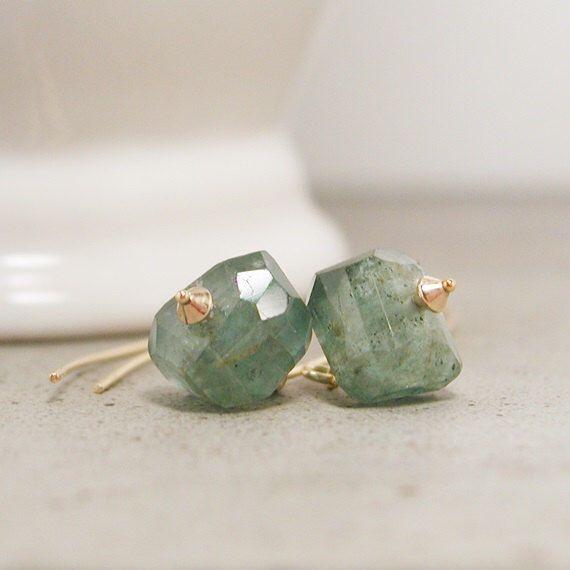 Moss Aquamarine Earrings, Long Earring, Gold Jewelry, March Birthstone, Minimalist Earrings, Contemporary Jewelry, Simple Earrings by crijewelry on Etsy https://www.etsy.com/listing/196373203/moss-aquamarine-earrings-long-earring