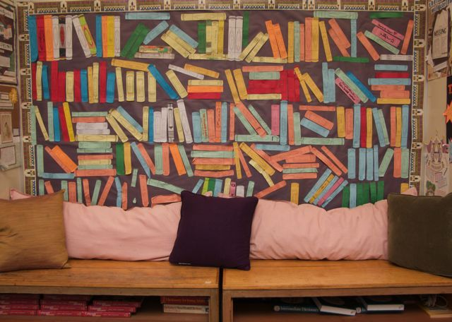 As kids finish their books, they create a book spine to display on the wall in the 'book nook'. THIS IS THE COOLEST IDEA EVER! LOVE IT!