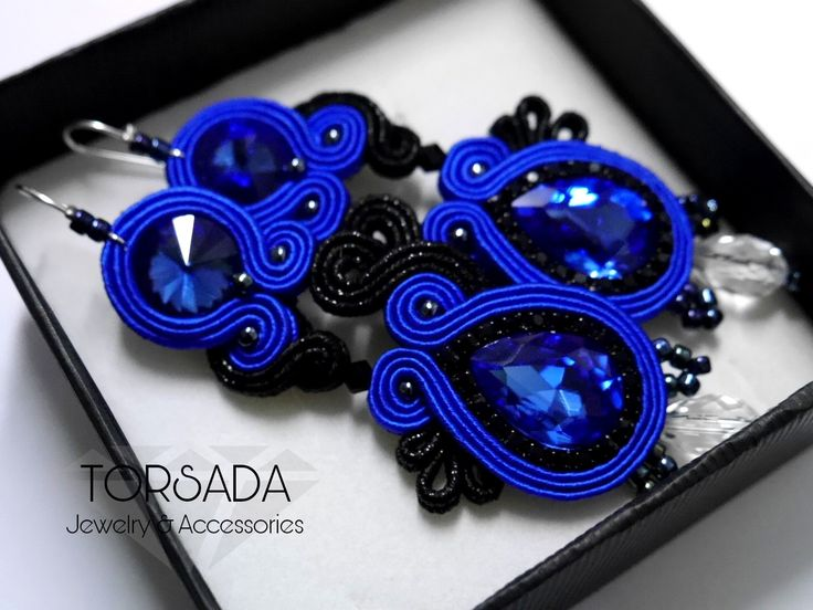 TORSADA - Bianka granatowe długie kolczyki sutasz w połączeniu z czernią / navy blue soutache earrings with crystals