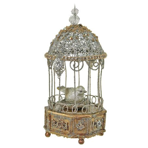 NEW-Katherines-Collection-Christmas-Bird-Cage-Clock-Ornament