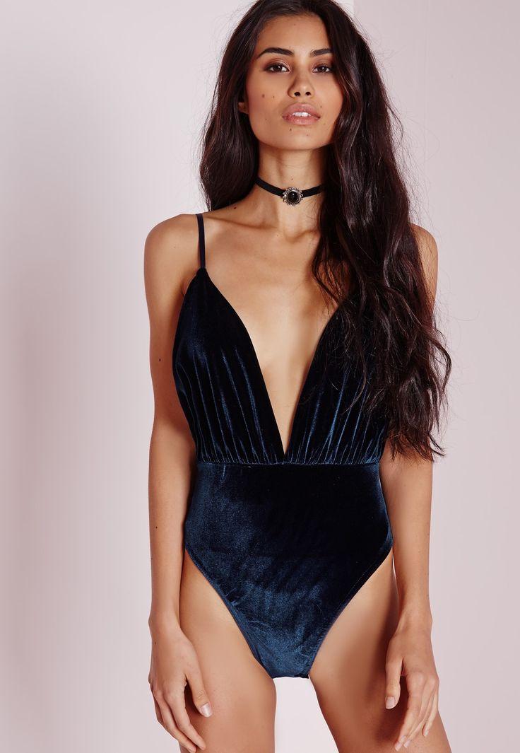 Velvet Plunge Bodysuit Navy - Velvet - Bodysuit - Tops - Missguided