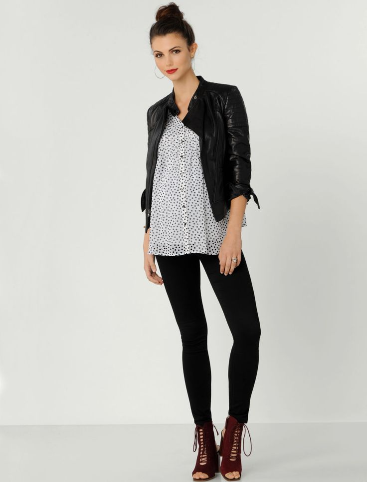 Black + White Polka Dots Pleated Maternity Blouse By A Pea