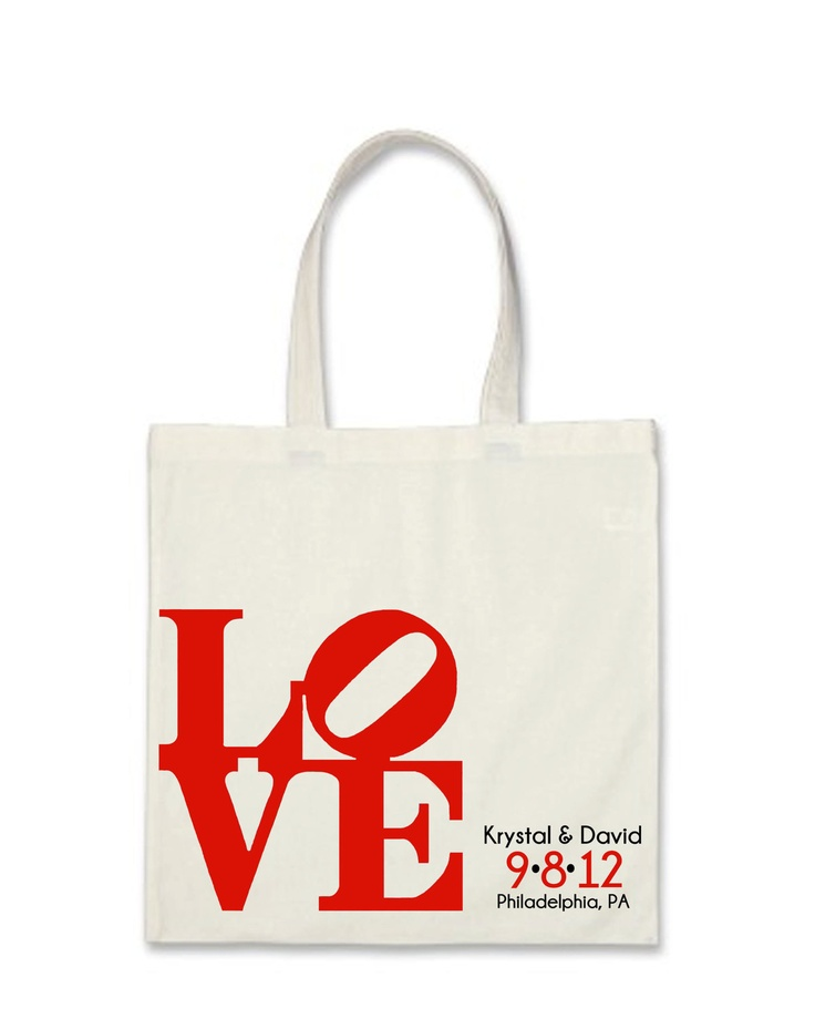 Philadelphia LOVE Wedding Welcome Bag 10 Finished Bags. $40.00, via Etsy.