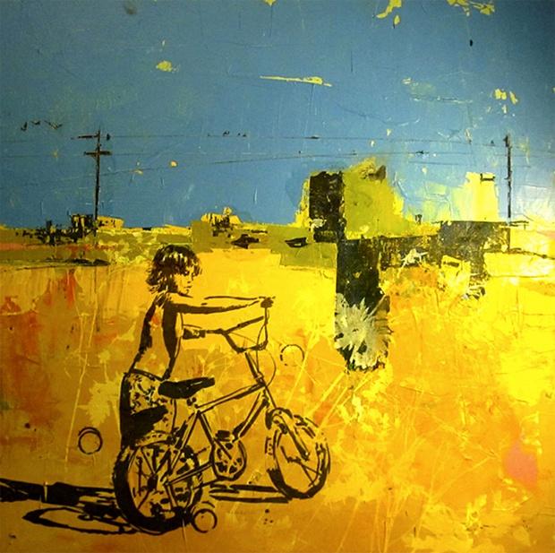 Pushing The Bike Yellow. Dan Parry-Jones