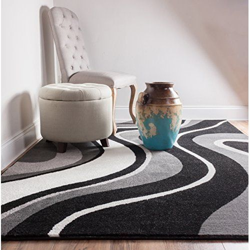 Good Samba Waves Grey Charcoal Black White Soft Tones Abstract Soft Pile  Abstract Contemporary Area Rug Living