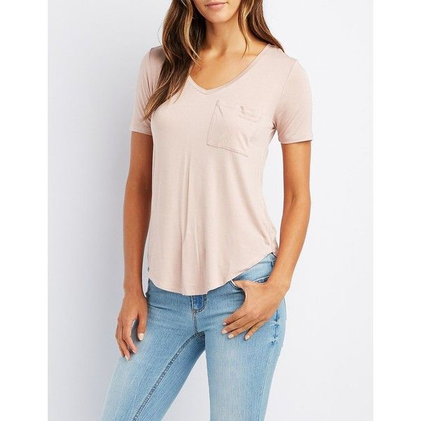 Charlotte Russe V-Neck Boyfriend Pocket Tee ($12) ❤ liked on Polyvore featuring tops, t-shirts, nude, boyfriend v neck tee, pink t shirt, boyfriend tee, boyfriend t shirt and v neck t shirts