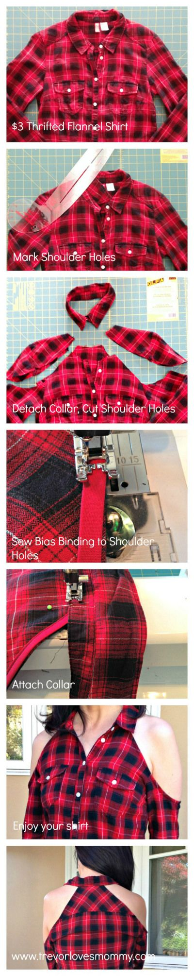 Cold Shoulder Flannel Shirt Refashion - step by step tutorial infographic