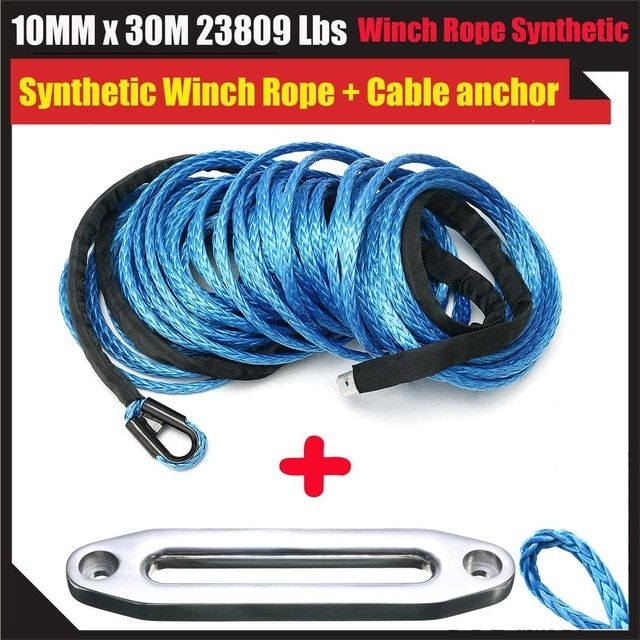 New 10mm X 30m Black Synthetic Winch Rope With Aluminum Hawse Fairlead For Atv Winch Kit Review Synthetic Winch Rope Atv Winch Winch Rope