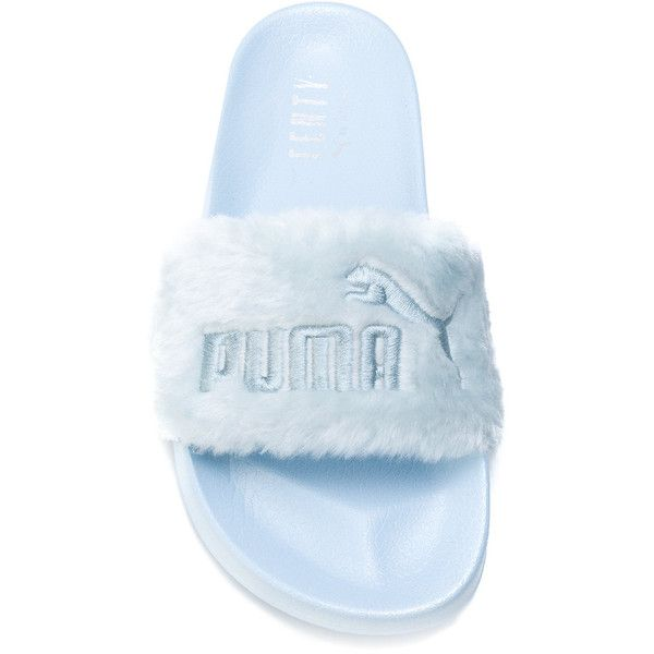 Fenty X Puma furry pool slides ($90) ❤ liked on Polyvore featuring shoes, puma footwear, puma shoes and blue shoes