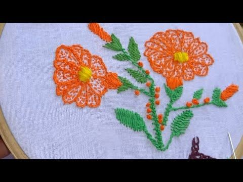 Hand Embroidery Kantha Work Stitch Flower Design by Amma Arts - YouTube