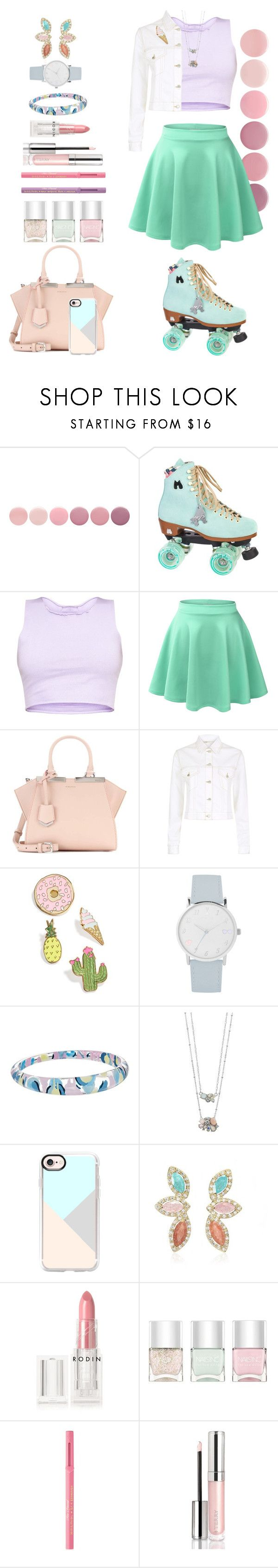 """Pastel Roller Skating"" by allyssister ❤ liked on Polyvore featuring Deborah Lippmann, Moxi, LE3NO, Fendi, Maje, Celebrate Shop, A.X.N.Y., Alexis Bittar, LC Lauren Conrad and Casetify"