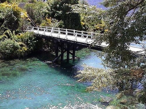El Río Correntoso, Villa la Angostura, Argentina (es el más corto del mundo).