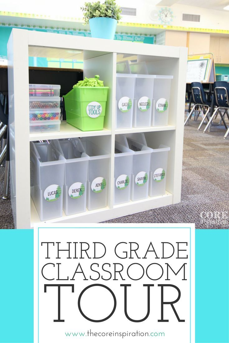 This third grade classroom is an elementary teacher��s dream. Bright blues and green. Love the way the classroom uses flexible seating without the need to have special chairs and tables - uses the open space so efficiently. Students have access to their le