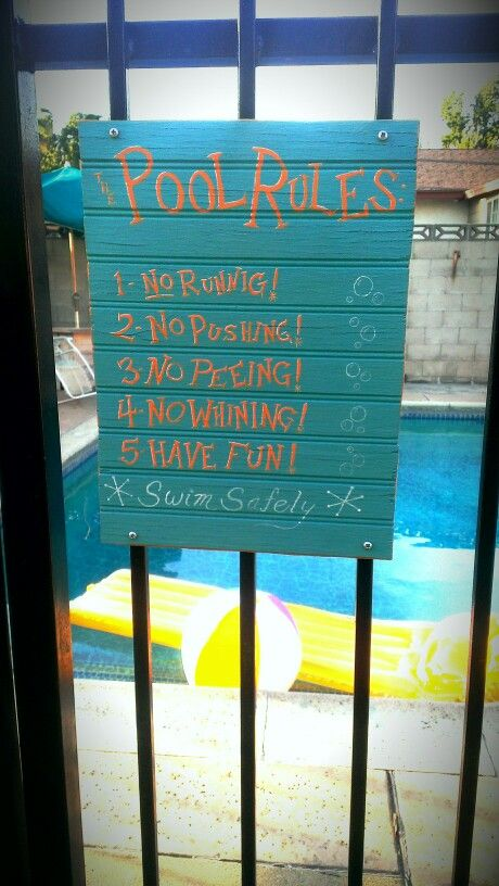 Hand painted POOL RULES sign.
