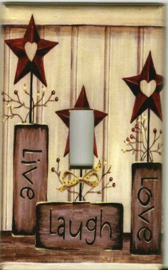 BARN STAR Live love Laugh barnstar Light Switch Plate cover Country Rustic Theme on Etsy, $6.99