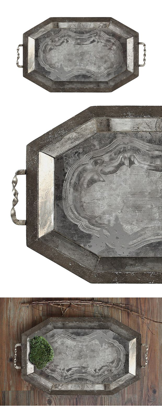 The Collinswood Antiqued Mirror Tray invokes images of a grand, upscale Victorian home whose interior designer left no details spared. This elegant handled tray is exquisitely crafted from a mirrored m...  Find the Collinswood Antiqued Mirror Tray, as seen in the Modern British Flat Collection at http://dotandbo.com/collections/modern-british-flat?utm_source=pinterest&utm_medium=organic&db_sku=113919