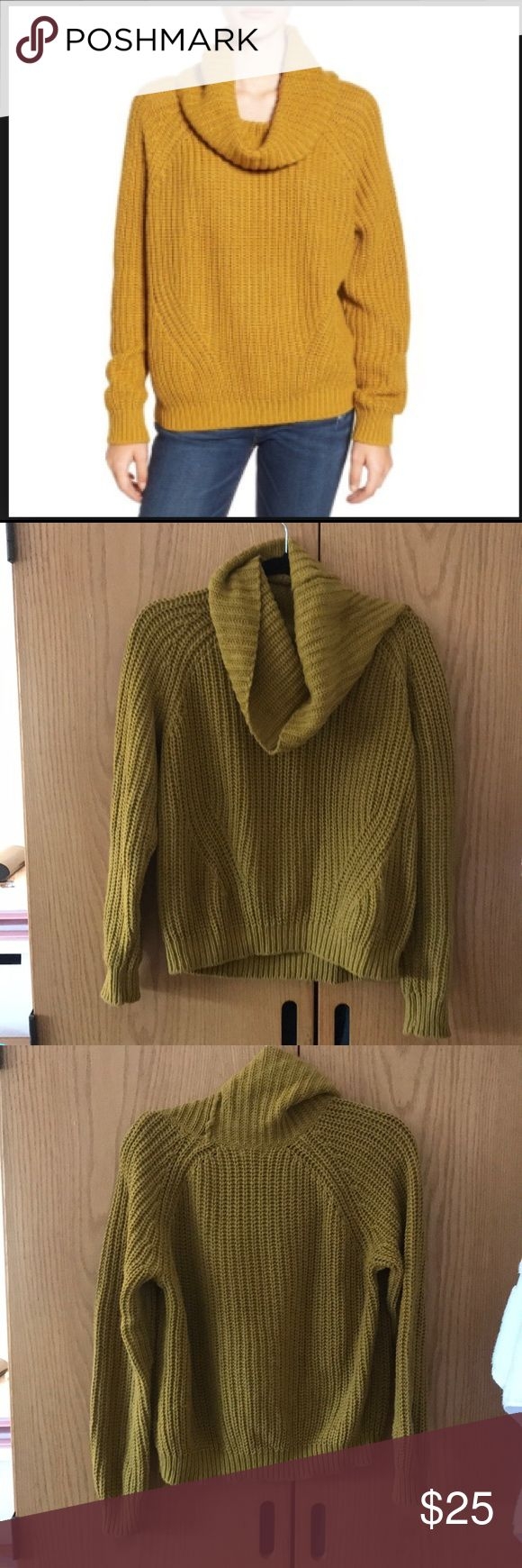 bp. Womans cowl neck sweater From Nordstrom. Unique yellow color, ribbed knit texture with a slouchy fit. Very comfortable and very soft. Never worn, just tried on. In great new condition. Nordstrom Sweaters Cowl & Turtlenecks