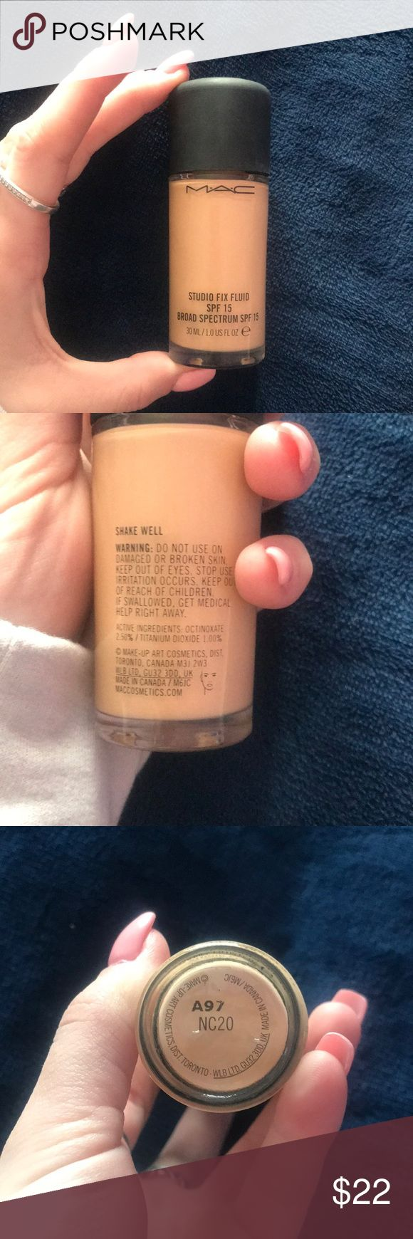 💙MAC STUDIO FIX FOUNDATION💙 Mac cosmetics studio fix foundation in the shade NC20. Has been used once! Has the whole bottle left and was purchased online at the Mac website. Full coverage and perfect for a night out or for ladies who love full coverage. MAC Cosmetics Makeup Foundation