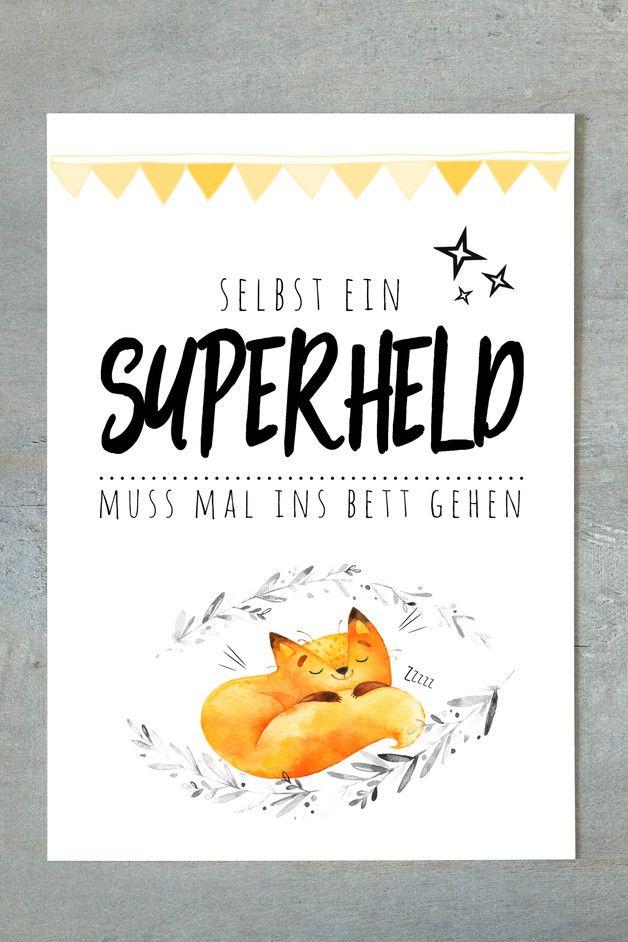Süßer Fine Art-Druck für Superhelden / challenge your inner superhero with this cute fine art print made by Schildermanufaktur via DaWanda.com