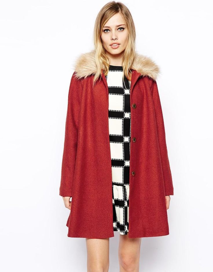 ASOS | ASOS Coat in Trapeze with Faux Fur Collar at ASOS