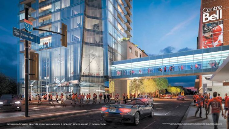 Building a Montréal community - Plans for Tour des Canadiens 3 (TDC3) in Montréal's Quad Windsor neighbourhood include a skybridge, connecting residents to the metro and RÉSO systems.  Construction Canada