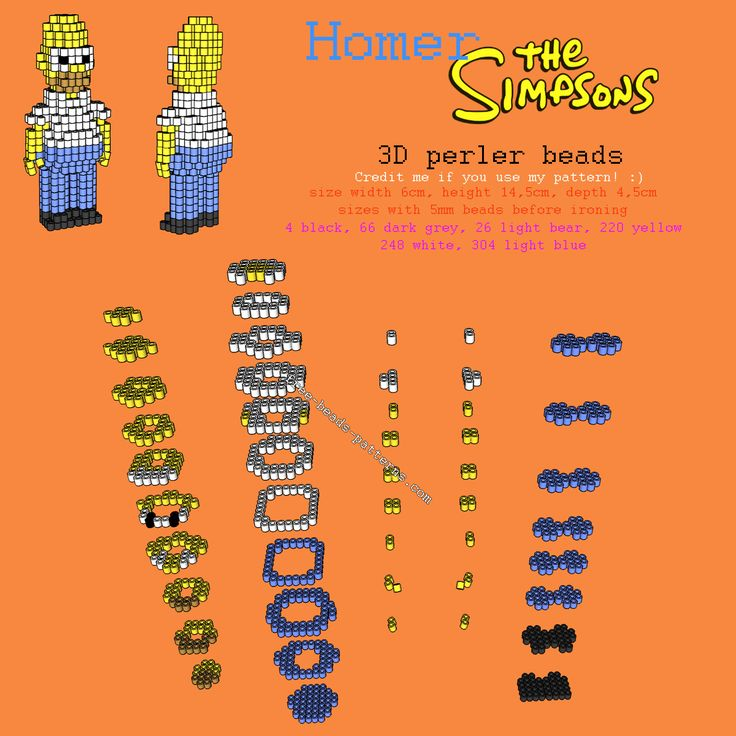 3D perler Hama Beads Homer from The Simpsons free pattern tutorial