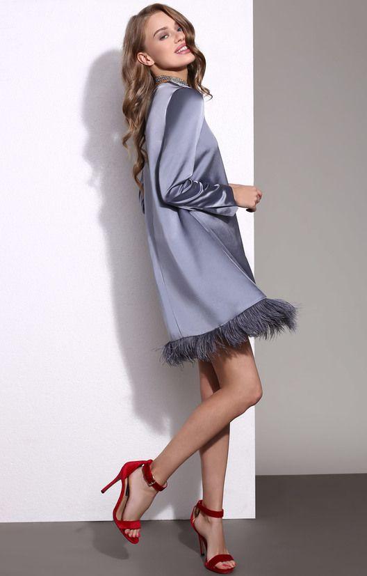 Жемчужно-серое платье А-силуэта с отделкой из перьев TOP20 Studio / 2000001026878-2