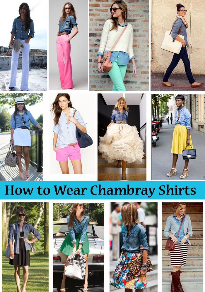 How to Wear Chambray Shirts. #laylagrayce #fashion #chambrayHow To Wear Chambray Shirts, Fashion Clothing, Jeans Shirts Outfit, Outfit Ideas, How To Wear A Chambray Shirts, Denim Shirts, Shorts Dresses, Chambray Shirts Outfit Summer, Outfit With White Shirts