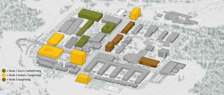 Visualisierung der geplanten Entwicklungsetappen Campus Hönggerberg<br> © EM2N / ETH Zürich