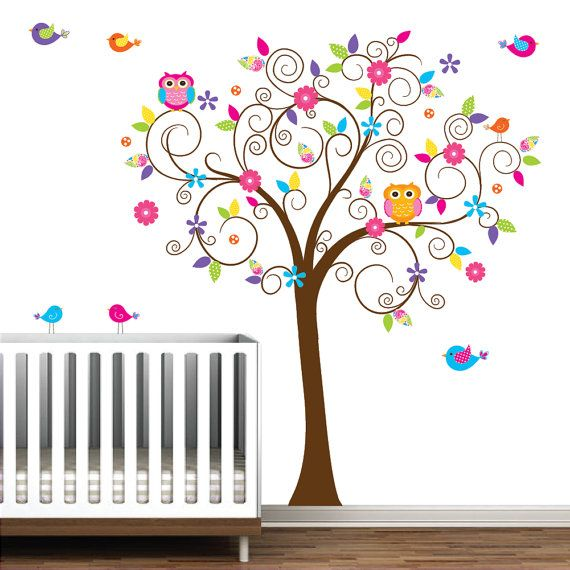 Nursery Wall Decals Tree Decal with Flowers Owls by Modernwalls, $99.00 https://www.etsy.com/shop/Modernwalls