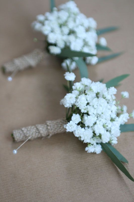 Gypsophila buttonholes - could do with olive?