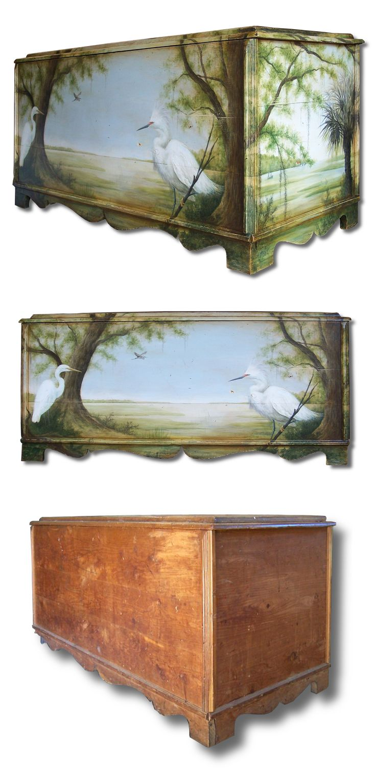 Hand Painted Cedar Chest With Lowcountry Scene. Old Furniture Makeovers And  Redo.
