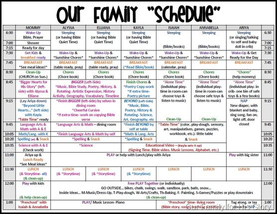 Some Good Ideas Here. Schedule (Our Family For His Glory)