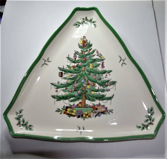Large Spode Christmas Serving Dish  Triangular  S2092