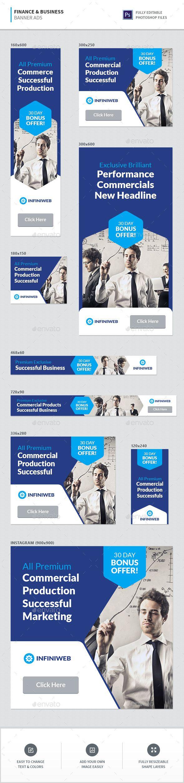 Finance & Business Banner Ads Template PSD