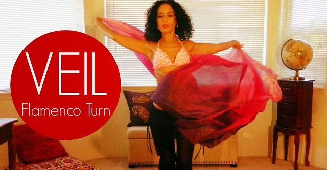Veil belly dancing: the Flamenco veil turn ~ Free belly dance classes online