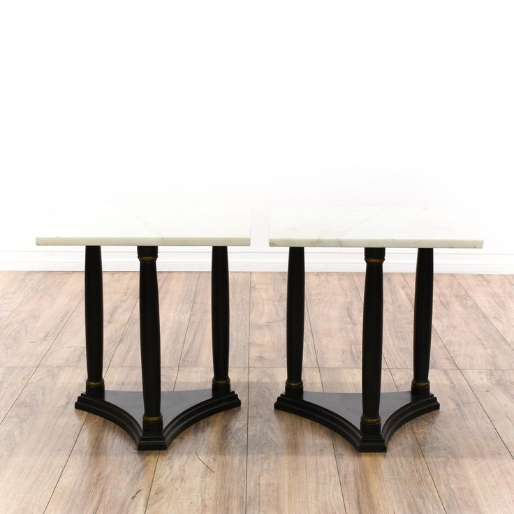 These end tables are featured in a solid wood with an ebonized finish. Each traditional side table has a smooth white marble top, beveled triangle base, and sturdy legs. Perfect for holding drinks! #americantraditional #tables #endtable #sandiegovintage #vintagefurniture