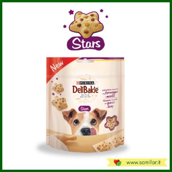 Snack Purina DeliBakie Stars: golosi snack cotti in forno e aromatizzati al gusto di formaggio e manzo. Leggi di più e acquista ora: http://samifar.it/?product=snack-purina-delibakie-stars
