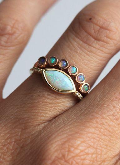 Opal Rings by MinimalVS on Etsy
