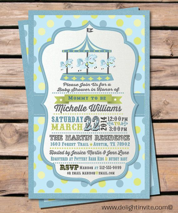 vintage boy carousel baby shower invitations, mint, blue ...